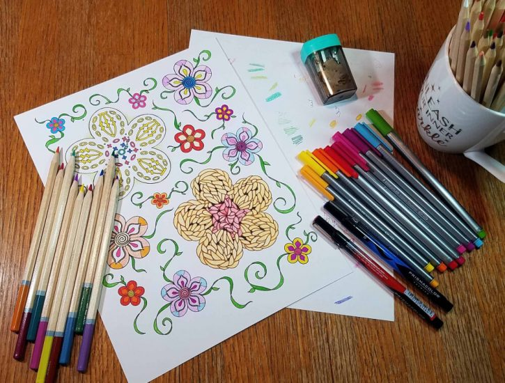 Coloring Flower & Vines Page - Andee Graves M2H Designs