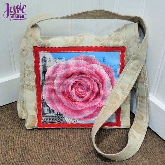 Diamond Dotz Messenger Bag Sewing Tutorial by Jessie At Home - front