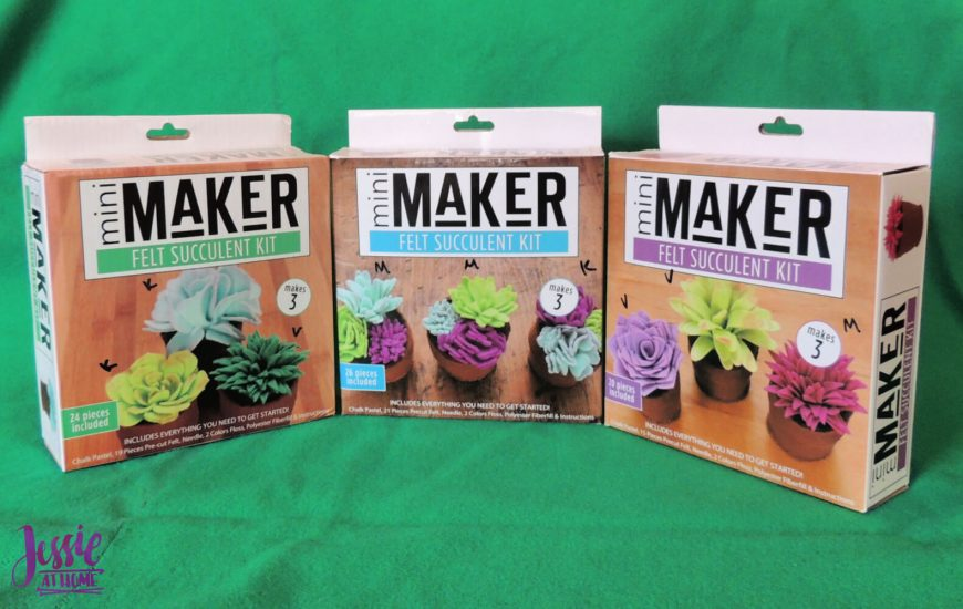 3 mini maker felt succulent kits review from Jessie At Home - boxes