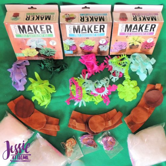 3 mini maker felt succulent kits review from Jessie At Home - contents