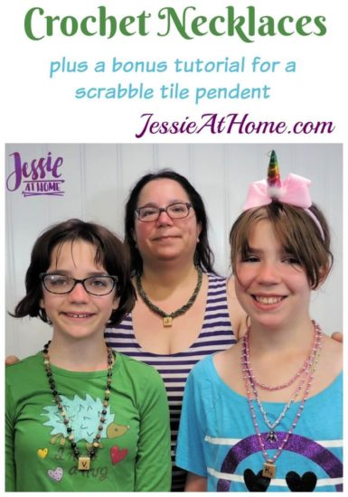 Crochet Necklace with Pendant and Beads by Jessie At Home