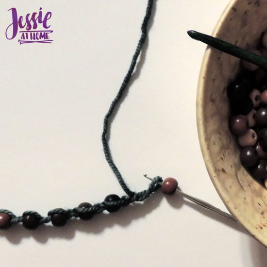 Crochet Necklace with Pendant and Beads by Jessie At Home - adding beads
