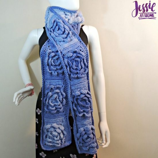 Flower Granny Square Bloom Crochet Scarf free crochet pattern by Jessie At Home - 3