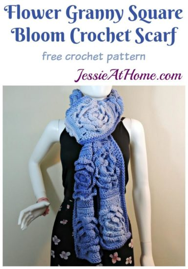 Flower Granny Square Bloom Crochet Scarf free crochet pattern by Jessie At Home