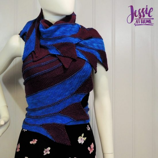 Nightbird - free diagonal knit scarf pattern by Jessie At Home - 2
