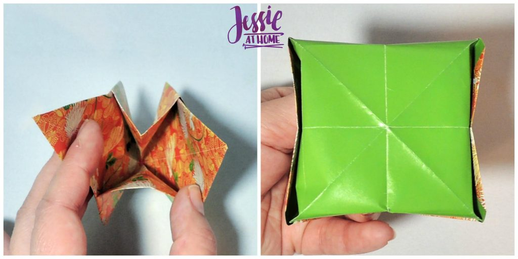 Origami Basket with Handle - paper folding tutorial by Jessie At Home - 12