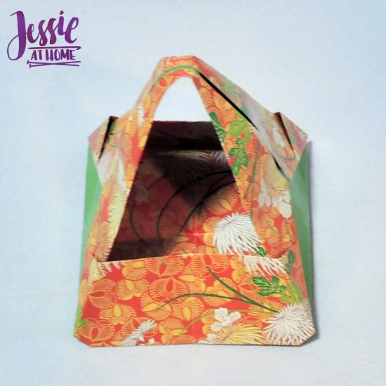 Origami Basket with Handle - paper folding tutorial by Jessie At Home - 14