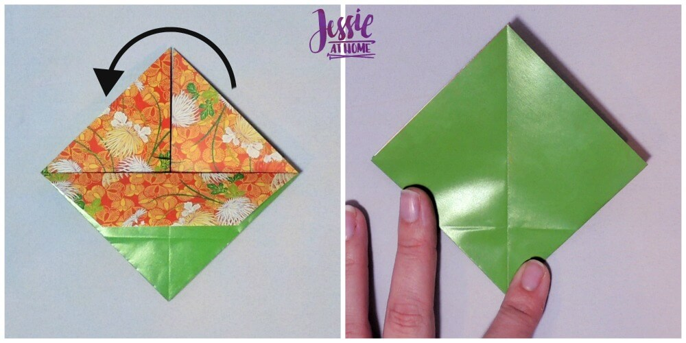 Origami Basket with Handle - paper folding tutorial by Jessie At Home - 5