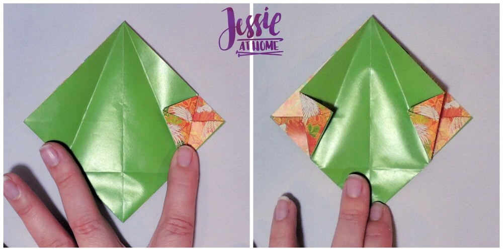 Origami Basket with Handle - paper folding tutorial by Jessie At Home - 8