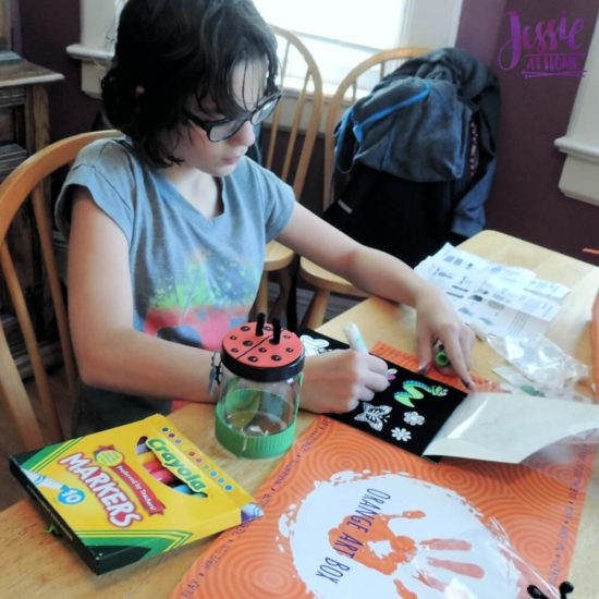 Bug Art For Kids - Buzzin' Bugs - July Orange Art Box Projects from Jessie At Home - coloring stickers