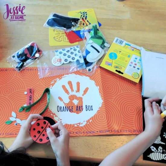 Bug Art For Kids - Buzzin' Bugs - July Orange Art Box Projects from Jessie At Home - ladybug lid