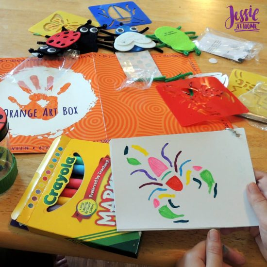Bug Art For Kids - Buzzin' Bugs - July Orange Art Box Projects from Jessie At Home - scorpian
