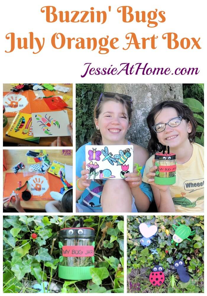 Bug Art For Kids - Buzzin' Bugs - July Orange Art Box Projects from Jessie At Home