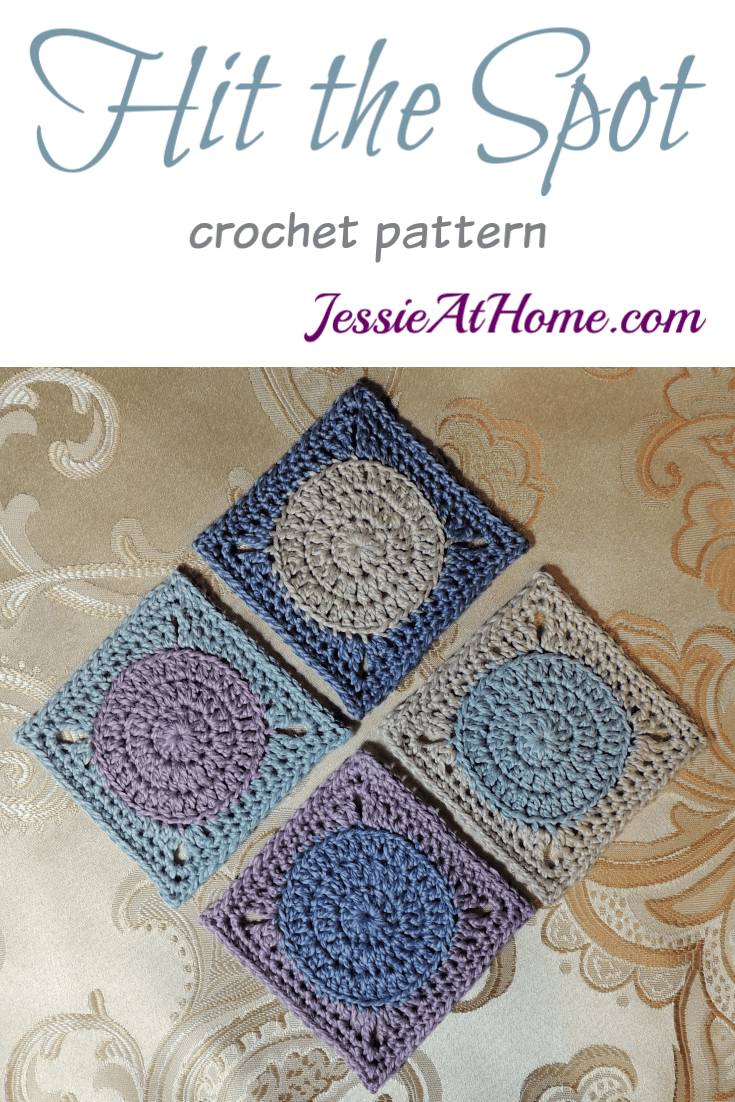 Crochet Circle to Square Hit The Spot Coasters crochet pattern by Jessie At Home