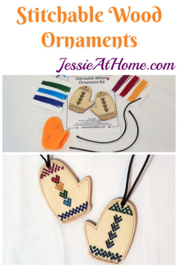 DIY Yarn Ornaments - Stitchable wood ornaments from Katrinkles - Jessie At Home