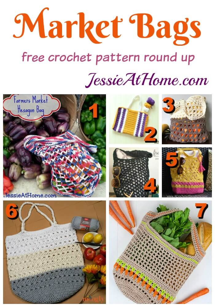 Farmers Market Bags free crochet pattern round up by Jessie At Home