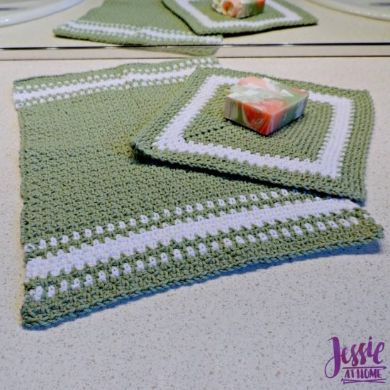 Crochet Spa Towel Set - Spearmint Hand and Face Towels free crochet pattern round up from Jessie At Home - 3