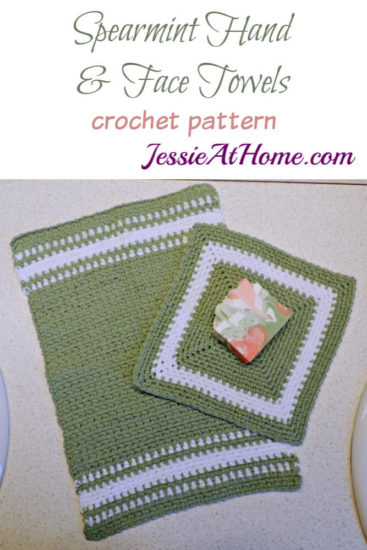 Crochet Spa Towel Set - Spearmint Hand and Face Towels free crochet pattern round up from Jessie At Home