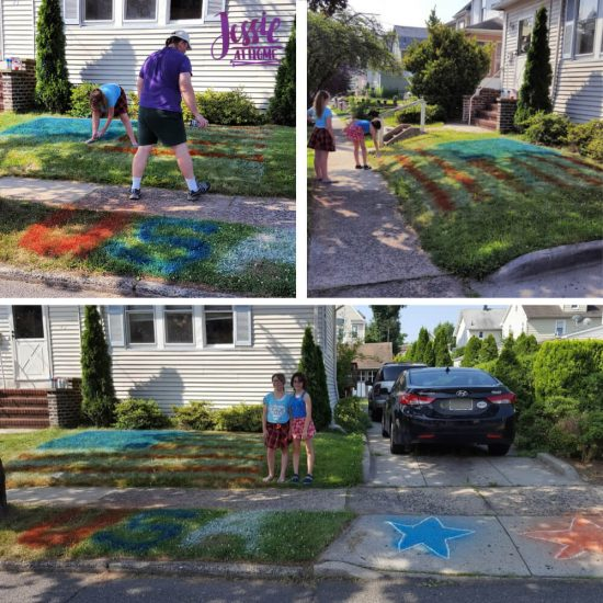 Spray Chalk and Art Birthday Fun - front yard