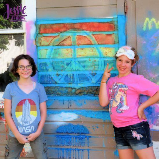 Spray Chalk and Art Birthday Fun - peace