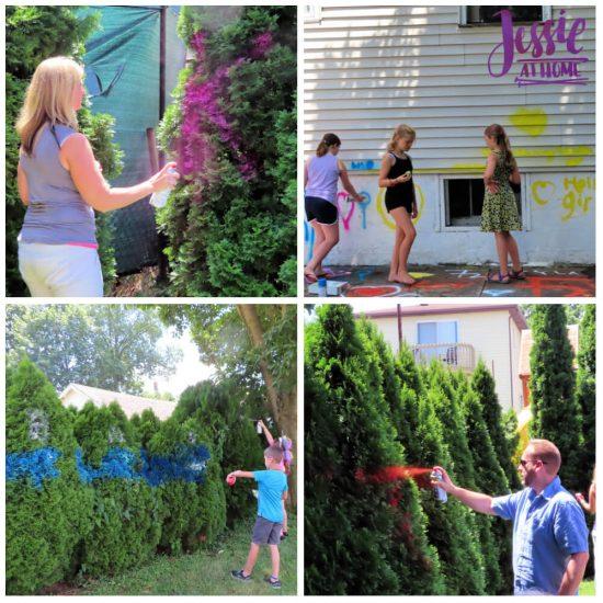 Spray Chalk and Art Birthday Fun - spraying away
