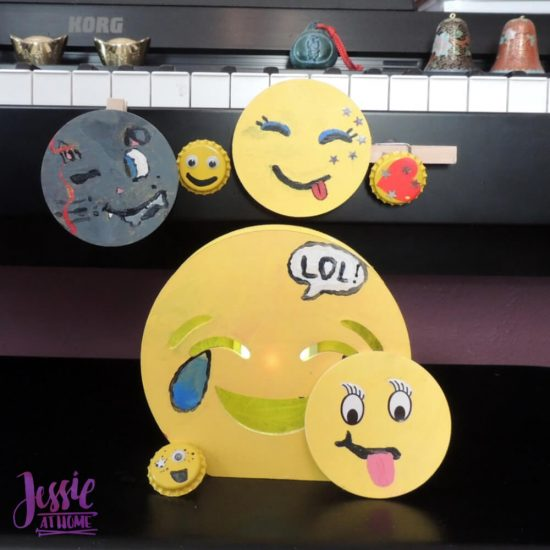DIY Emoji Crafts For Kids - September Orange Art Box projects from Jessie At Home - light it up