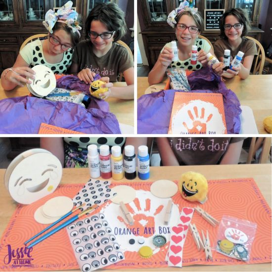 DIY Emoji Crafts For Kids - September Orange Art Box projects from Jessie At Home - opening the box