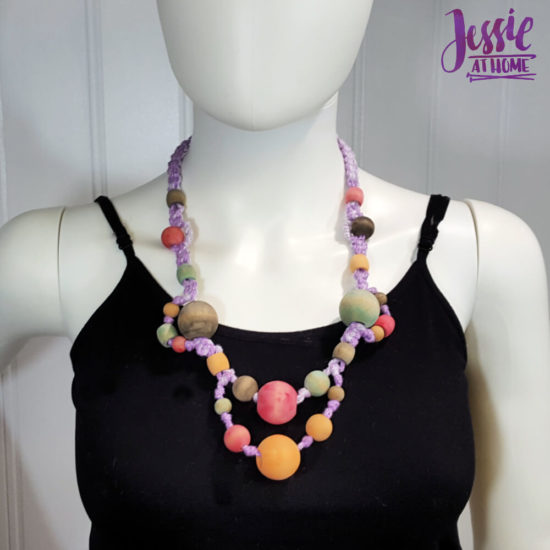 DIY Wooden Bead Necklace craft tutorial by Jessie At Home - Finished