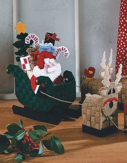 Plastic Canvas Christmas Decor and Ornaments book review by Jessie At Home - sleigh