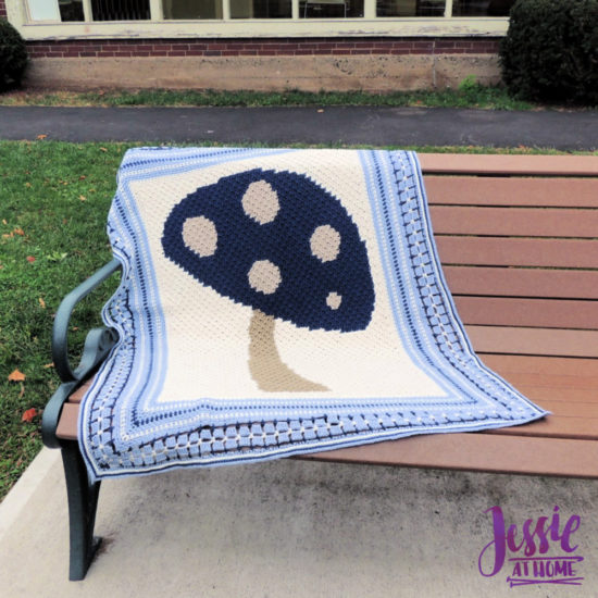 Vintage Style Crochet Afghan - Dancing Mushroom Blanket Pattern by Jessie At Home - 2