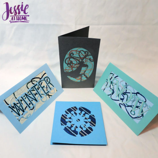 Iron-on Thread Layered Cards tutorial by Jessie At Home - Finished Cards