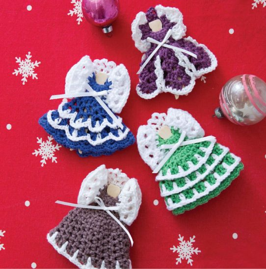 Retro Christmas Ornaments - crochet pattern book review from Jessie At Home - Colorful Angels