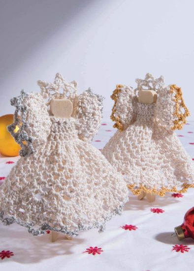 Retro Christmas Ornaments - crochet pattern book review from Jessie At Home - Peg Doll Angels