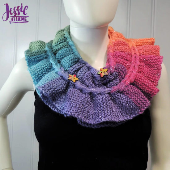 Rainbow Ruffle Cowl - modern knit ruff pattern by Jessie At Home - 3