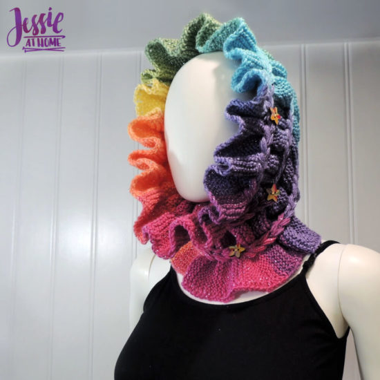 Rainbow Ruffle Cowl - modern knit ruff pattern by Jessie At Home - 4